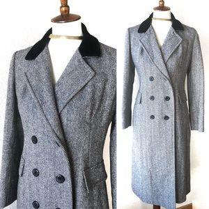 VTG🌈50s Tweed Velvet Collar Double Breasted Coat